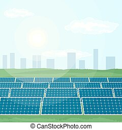 Many solar panels produce renewable energy from sun.