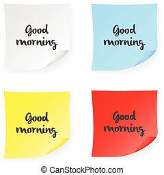 Stick note good morning on a white background. Vector...