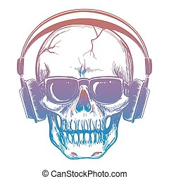 Colorful sketch of skull and headphones