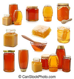 Honey collection isolated on white background