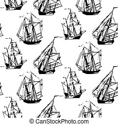 Vector seamless black and white pattern of sailing ships in...
