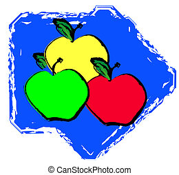 red green and yellow apple varieties