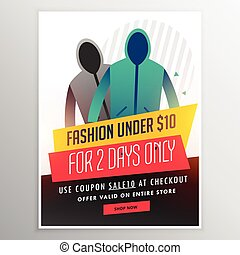 fashion sale banner design with cloths and offer details