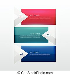 three steps option infographic template in arrow style for...