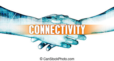 Connectivity Concept with Businessmen Handshake on White...