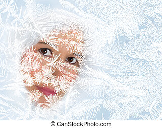 Looking through a frosted window - Woman looking through a...