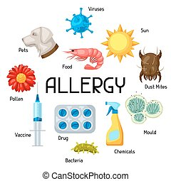Allergy. Background with allergens and symbols. Vector...