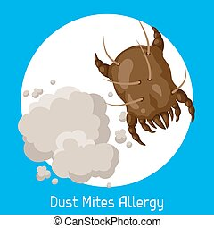 Dust mites allergy. Vector illustration for medical websites...