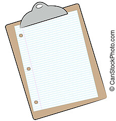 clipboard with sheet of lined paper