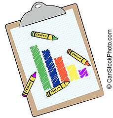 bar graph and crayons on clipboard