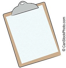 clipboard with graph paper attached