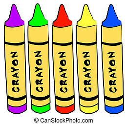 five different color crayons standing