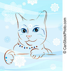 cat and snowflakes