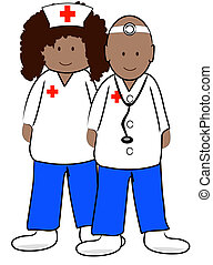 ethnic male doctor and female nurse