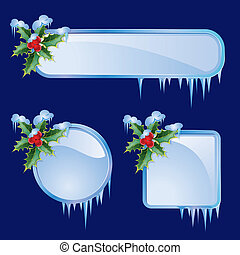 Set from christmas frames - Set from frames with berries and...