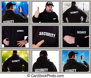 collage of security man photos in different situation