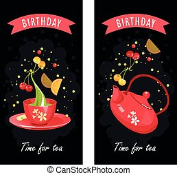 tea time card - vector illustration of a tea party set of...