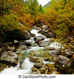 Mountain River - Beautiful view of a mountain river with...