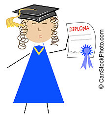 school graduate with diploma and cap
