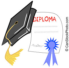graduation hat and diploma - graduation day