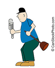plumber with plunger and pipe wrench - bald plumber with...