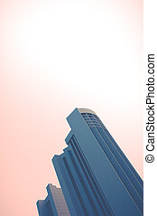 Skyscraper Abstract With PInk Sky - Abstract Architecture...