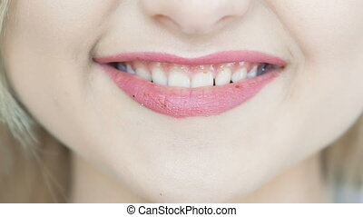 Close up of red lips which smiling. Full HD