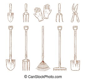 hand drawn garden tools set - hand drawn isolated garden...