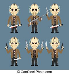 Maniac Holds Weapons Machete Knife - Vector Illustration,...