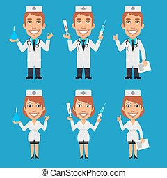 Doctor and Nurse Holding Enema Syringe Thermometer - Vector...