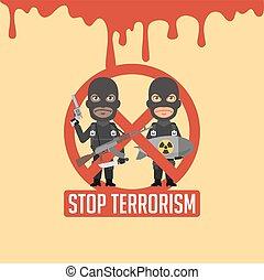 Terrorists Blood Prohibitory Sign - Vector Illustration,...