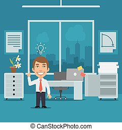 Businessman in Office Came Up With Idea - Vector...
