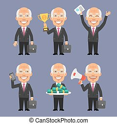 Old Businessman Holding Various Objects Part