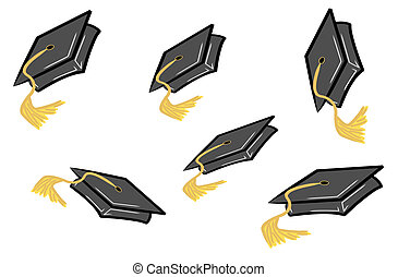 graduation caps being tossed in the air - graduation caps or...