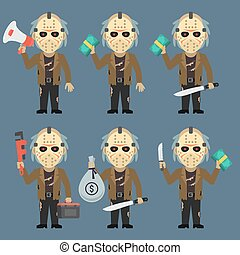 Maniac Holds Machetes Pipe Wrench Money Megaphone - Vector...