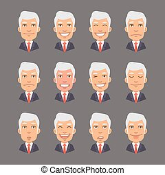 Set Emotions with Gray Hair Businessman - Vector...