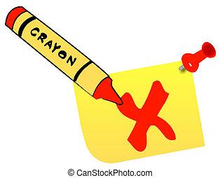 crayon check mark on thumb tacked note