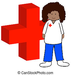 ethnic first aid worker with symbol