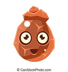 Brown Cracked Rock Element Egg-Shaped Cute Fantastic Character With Big Eyes Vector Emoji Icon