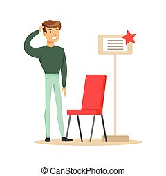 Man Buying A Red Chair, Smiling Shopper In Furniture Shop Shopping For House Decor Elements
