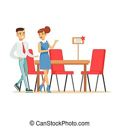 Couple Buying Big Dining Table And Chairs For Dining Room, Smiling Shopper In Furniture Shop Shopping For House Decor Elements