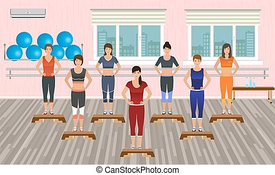 Fitness people in the gym. Athletic women doing exercises....