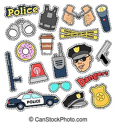 Police Security Stickers Set with Officer, Gun and Car....