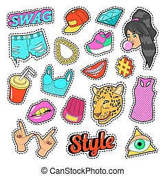 Swag Fashion Elements with Hands, Lips and Clothes for...