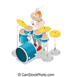 Isometric Rock Drummer Playing on Drums. Vector 3d flat...
