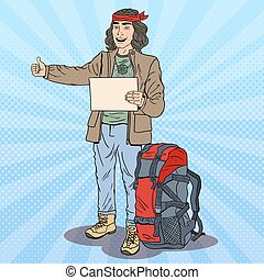 Pop Art Smiling Hitchhiking Man with Backpack. Vector...