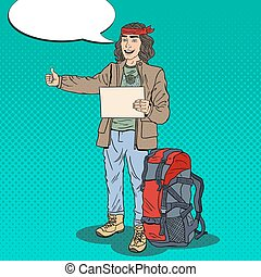 Pop Art Smiling Hitchhiking Man Hipster with Backpack....