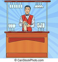 Pop Art Smiling Bartender Wiping Glass in Bar. Vector...