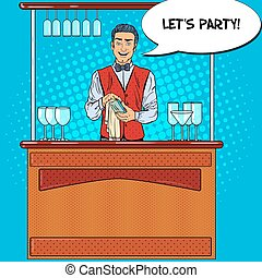 Pop Art Smiling Barman Wiping Glass in Nightclub Bar. Vector...