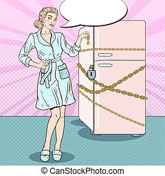 Pop Art Young Woman on Diet with Fridge Chain and Lock. Vector illustration